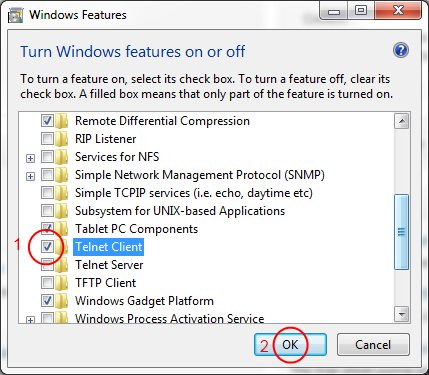 Screenshot of Microsoft features showing how to enable Telnet